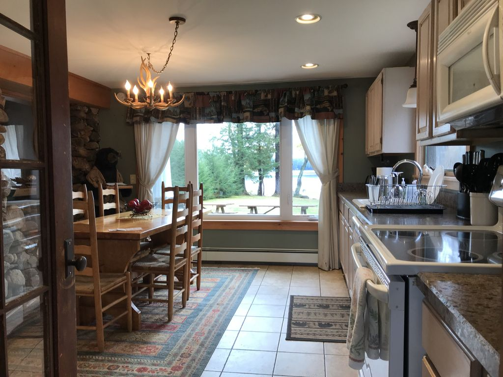 Kitchen with view of lake
